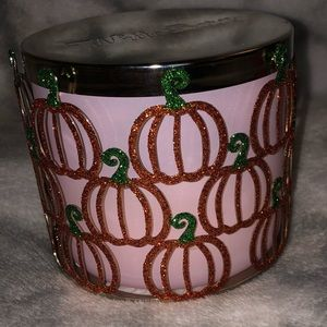 🎃 Glittery pumpkins three wick candle holder